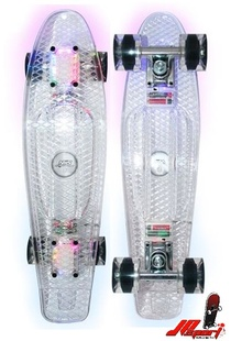 Svítící pennyboard Nils Fishboard Led Transparent
