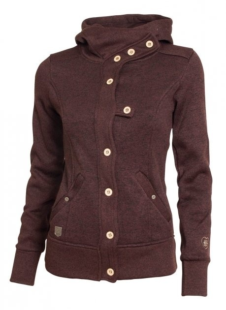 woox-tune-fleece-ladies-button-brown